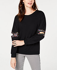 I.N.C. Sequined Cutout Sweatshirt, Created for Macy's