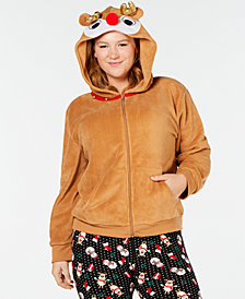 Planet Gold Trendy Plus Size Holiday Reindeer Hoodie