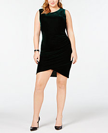 Soprano Trendy Plus Size Ruched Velvet Bodycon Dress