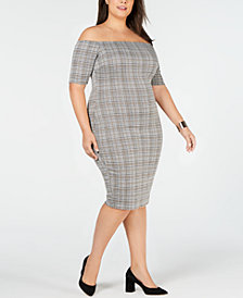 Soprano Trendy Plus Size Off-The-Shoulder Bodycon Dress