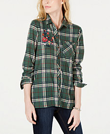 Project 28 NYC Juniors' Embroidered Plaid Button-Front Shirt