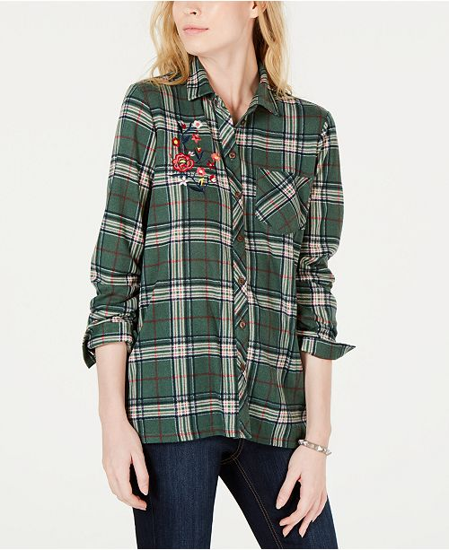 PROJECT 28 NYC Embroidered Plaid Button-Front Shirt