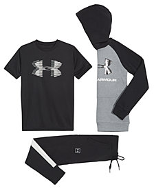 Under Armour Big Boys Rival Logo-Print Hoodie, Logo-Print T-Shirt & Jogger Pants