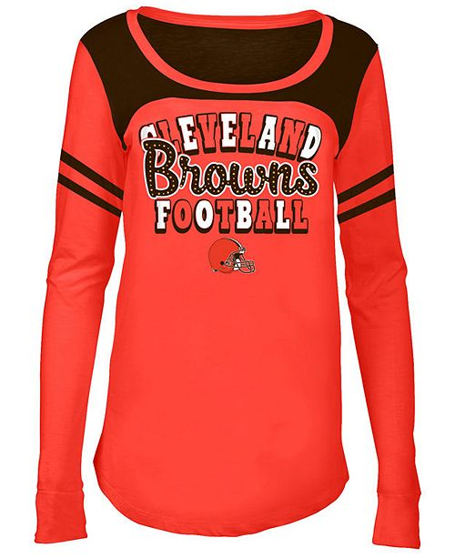 5th & Ocean Cleveland Browns Sleeve Stripe Long Sleeve T-Shirt, Girls (4-16)