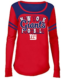 5th & Ocean New York Giants Sleeve Stripe Long Sleeve T-Shirt, Girls (4-16)