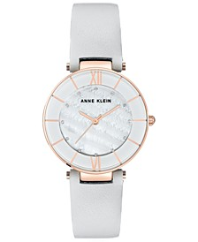 Women's Light Gray Leather Strap Watch 32mm