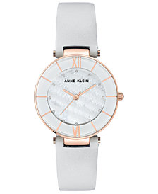 Anne Klein Women's Light Gray Leather Strap Watch 32mm