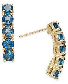 London Blue Topaz Curved Bar Drop Earrings (2-3/4 ct. t.w.) in 14k Gold