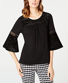 NY Collection Petite Crochet-Trim Velvet-Burnout Top
