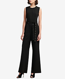 DKNY Grommet-Belt Wide-Leg Jumpsuit, Created for Macy's