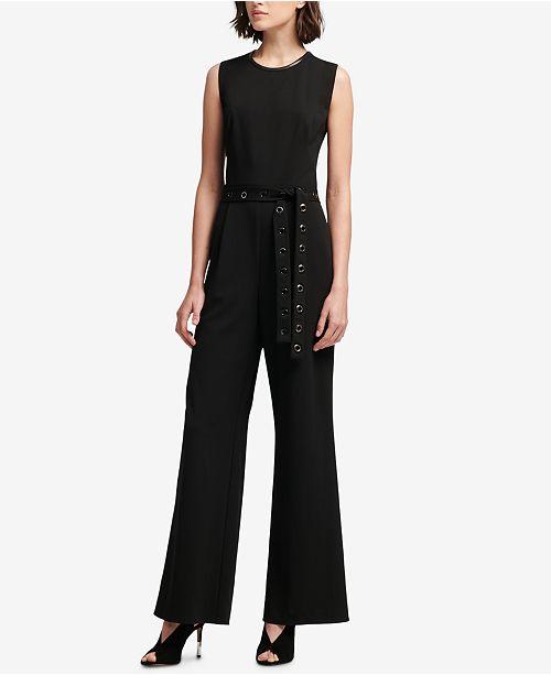 0d15071c7371 DKNY Grommet-Belt Wide-Leg Jumpsuit   Reviews - Women - Macy s
