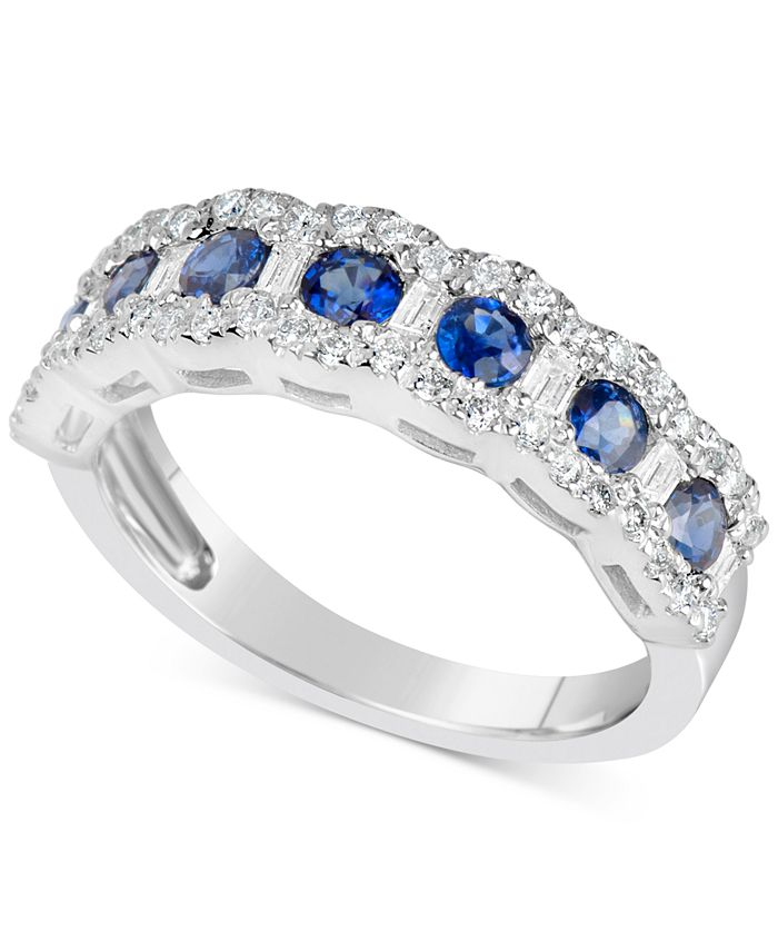 Macy's - Sapphire (7/8 ct. t.w.) & Diamond (3/8 ct. t.w.) Ring in 14k White Gold (Also Available in Emerald & Ruby)