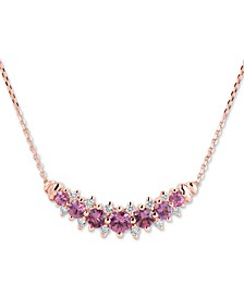 """Pink Sapphire (1-1/2 ct. t.w.) & Diamond (1/4 ct. t.w.) 16"""" Collar Necklace in 14k Rose Gold"""