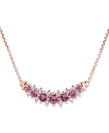 "Pink Sapphire (1-1/2 ct. t.w.) & Diamond (1/4 ct. t.w.) 16"" Collar Necklace in 14k Rose Gold"