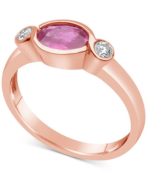 Macy's Pink Sapphire (1 ct. t.w.) & Diamond (1/10 ct. t.w.) Bezel Ring in 14k Rose Gold