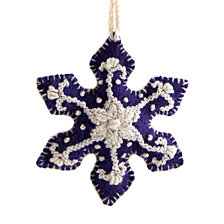 Global Goods Partners Embroidered Woolen Snowflake Ornament