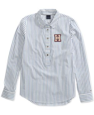 Flicka Stripe Shirt From The Adaptive Collection, Blue Meriden/White