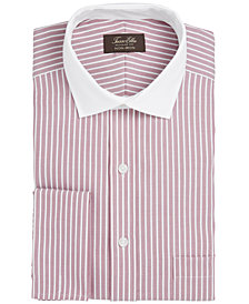 Tasso Elba Men's Classic/Regular Fit Non-Iron Twill Bar Stripe French Cuff Dress Shirt, Created for Macy's