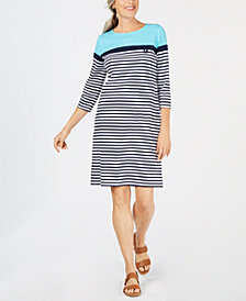 Karen Scott Petite Striped Boat-Neck Dress