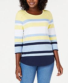 Karen Scott 3/4-Sleeve Scoop-Neck Tori Top, Created for Macy's