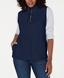 Karen Scott Petite Cable-Pattern Vest, Created for Macy's
