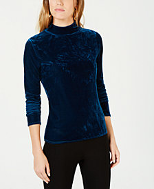 Bar III Velvet Font Mock-Neck Sweater, Created for Macy's