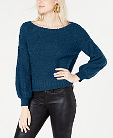 Bar III Bishop-Sleeve Textured Sweater, Created for Macy's