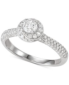 Diamond Halo Engagement Ring (3/4 ct. t.w.) in 14k White Gold