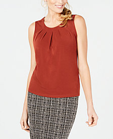 Kasper Pleated Sleeveless Top