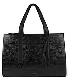 T Tahari Color & Black Leather Croc Tote