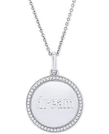 "Diamond Dream Disc 22"" Pendant Necklace (1/10 ct. t.w.) in Sterling Silver"