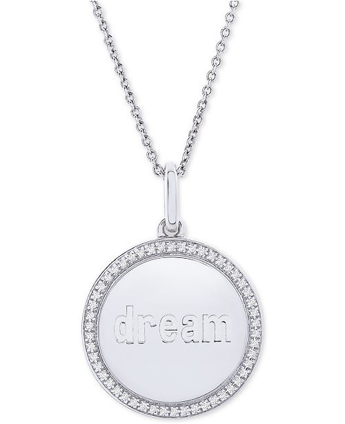 "Macy's Diamond Dream Disc 22"" Pendant Necklace (1/10 ct. t.w.) in Sterling Silver"