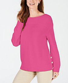 Charter Club Petite Button-Trim Sweater, Created for Macy's