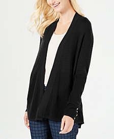 Charter Club Mixed-Knit Button-Trim Cardigan, Created for Macy's