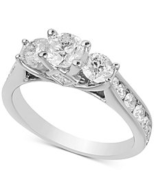 Diamond Three Stone Engagement Ring (2 ct. t.w.) in 14k White Gold