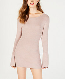 Material Girl Juniors' Shine Bell-Sleeved Sweater Dress, Created for Macy's
