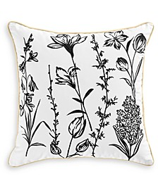 """CLOSEOUT! Embroidered 18"""" Square Decorative Pillow, Created for Macy's"""