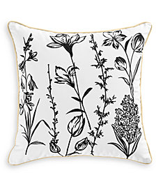 "Charter Club Damask Designs Embroidered 18"" Square Decorative Pillow, Created for Macy's"