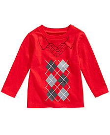 First Impressions Baby Boys Long-Sleeve Argyle Cotton T-Shirt, Created for Macy's