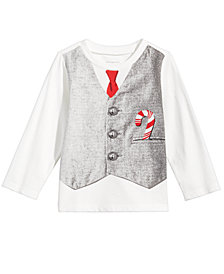 First Impressions Toddler Boys Vest-Print Cotton T-Shirt, Created for Macy's
