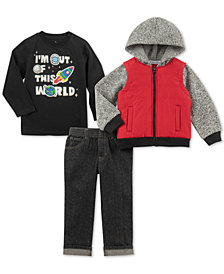 Kids Headquarters Baby Boys 3-Pc. Hooded Jacket, Space-Print T-Shirt & Jeans Set