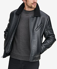 Men's Maxton Asymmetrical Moto Jacket with Faux-Shearling Collar