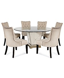 "Marais Dining Room Furniture, 7 Piece Set (60"" Mirrored Dining Table and 6 Chairs)"
