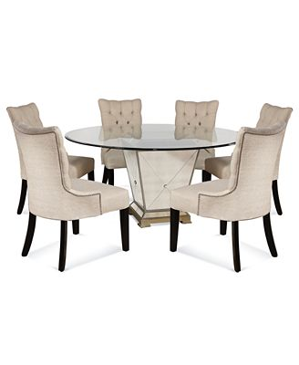 "Glass Round Dining Table For 6 marais dining room furniture, 7 piece set (60"" mirrored dining"