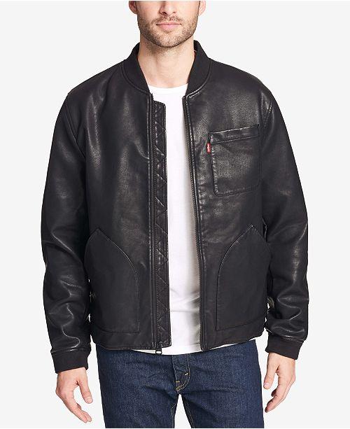 76ced9d7c Levi's Men's Faux-Leather Depot Jacket & Reviews - Coats & Jackets ...