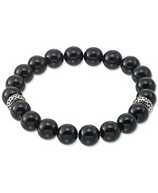 Onyx (10mm) Beaded Stretch Bracelet in Stainless Steel