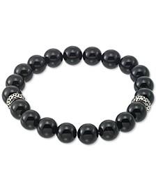 Onyx (10mm) Beaded Stretch Bracelet in Stainless Steel