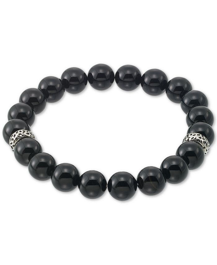 LEGACY for MEN by Simone I. Smith - Onyx (10mm) Beaded Stretch Bracelet in Stainless Steel