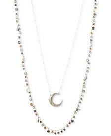 "lonna & lilly Two-Tone Pavé Moon & Bead 32""/38"" 2-in-1 Necklace"