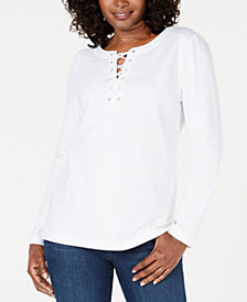 Karen Scott Petite Striped Lace-Up Top, Created for Macy's